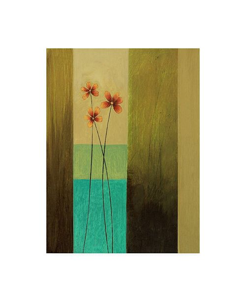 "Trademark Global Pablo Esteban Orange Flowers with Stripes Canvas Art - 15.5"" x 21"""