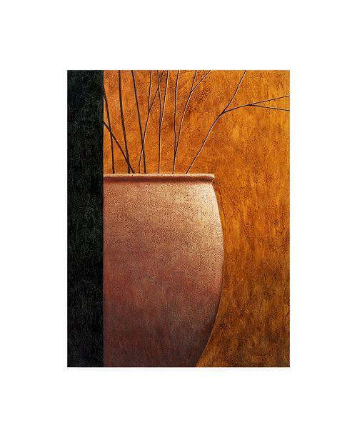 "Trademark Global Pablo Esteban Large Vase on Yellow Orange Canvas Art - 36.5"" x 48"""