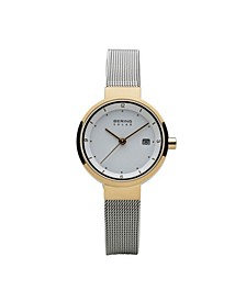 Ladies' Slim Solar Two Tone Stainless Steel Case and Mesh Watch