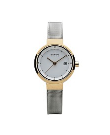 Bering Ladies' Slim Solar Two Tone Stainless Steel Case and Mesh Watch