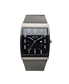 Men's, Slim Solar Stainless Steel Tank Case Mesh Watch