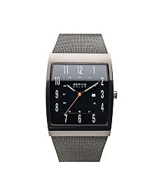 Bering Men's, Slim Solar Stainless Steel Tank Case Mesh Watch