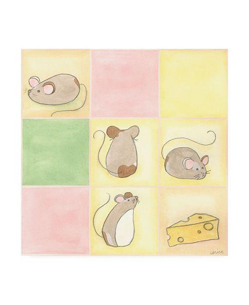 "Trademark Global June Erica Vess Tic tac Mice in Pink Childrens Art Canvas Art - 15.5"" x 21"""