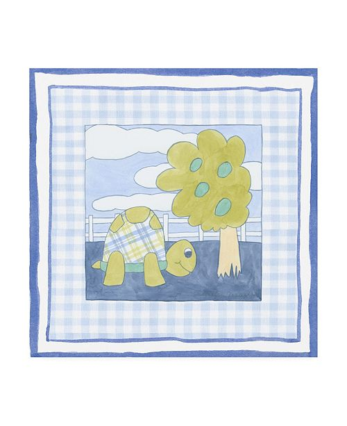 "Trademark Global Megan Meagher Turtle with Plaid I Childrens Art Canvas Art - 19.5"" x 26"""
