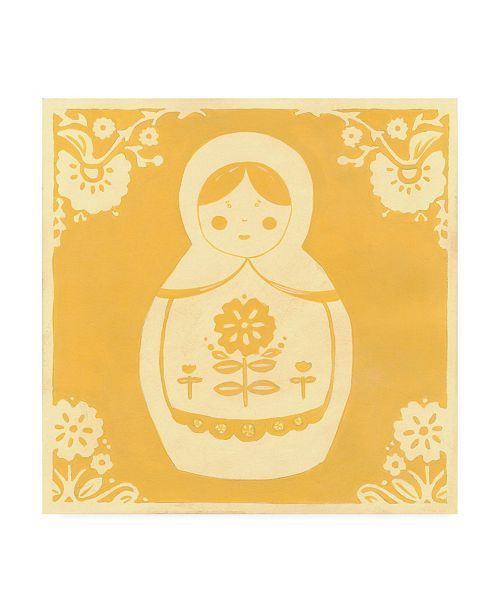 "Trademark Global June Erica Vess Russian Doll in Yellow Canvas Art - 15.5"" x 21"""