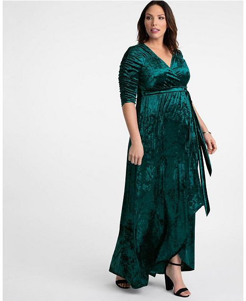 Womens Plus Size Cara Velvet Wrap Dress