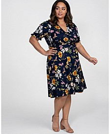 Women's Plus Size Tuscan Tie Wrap Dress