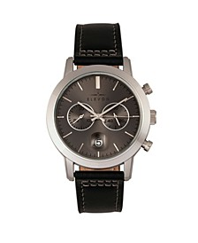 Men's Langley Chronograph Genuine Leather Strap Watch 42mm