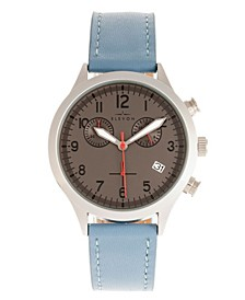 Men's Antoine Chronograph Genuine Leather Strap Watch 44mm