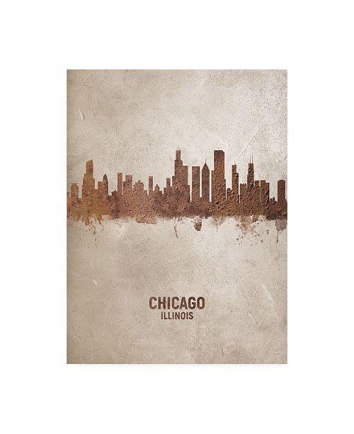 """Trademark Global Michael Tompsett Chicago Illinois Rust Skyline Canvas Art - 15.5"""" x 21"""""""