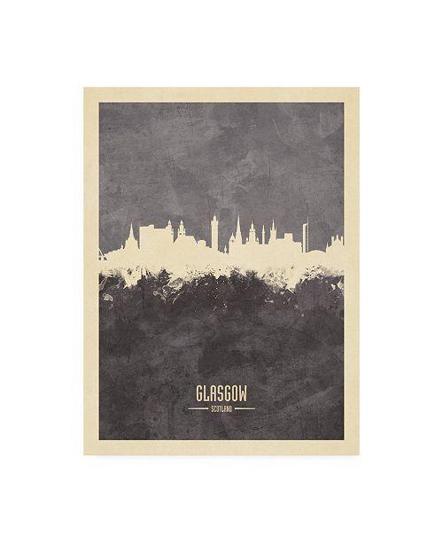 "Trademark Global Michael Tompsett Glasgow Scotland Skyline Gray Canvas Art - 15.5"" x 21"""