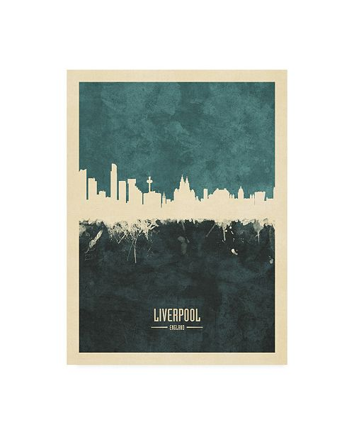 "Trademark Global Michael Tompsett Liverpool England Skyline Teal Canvas Art - 15.5"" x 21"""