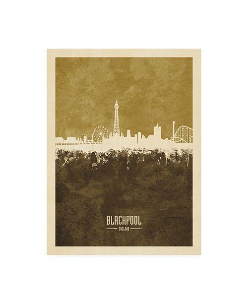"Trademark Global Michael Tompsett Blackpool England Skyline Brown Canvas Art - 27"" x 33.5"""