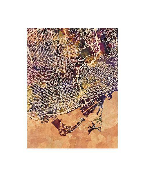 "Trademark Global Michael Tompsett Toronto Street Map Color II Canvas Art - 15.5"" x 21"""