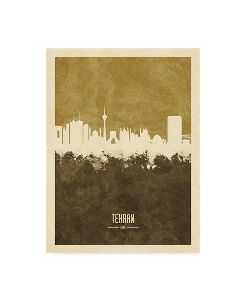 "Trademark Global Michael Tompsett Tehran Iran Skyline Brown Canvas Art - 27"" x 33.5"""