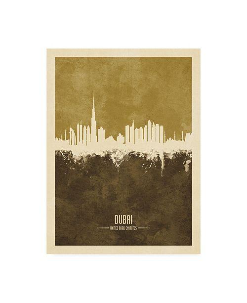 "Trademark Global Michael Tompsett Dubai UAE Skyline Brown Canvas Art - 27"" x 33.5"""