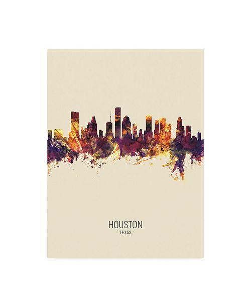 "Trademark Global Michael Tompsett Houston Texas Skyline Portrait III Canvas Art - 19.5"" x 26"""