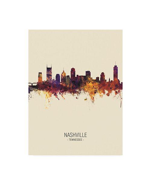 "Trademark Global Michael Tompsett Nashville Tennessee Skyline Portrait III Canvas Art - 36.5"" x 48"""