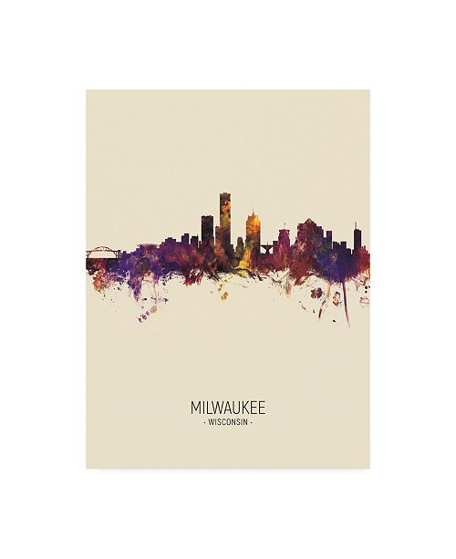 "Trademark Global Michael Tompsett Milwaukee Wisconsin Skyline Portrait III Canvas Art - 19.5"" x 26"""