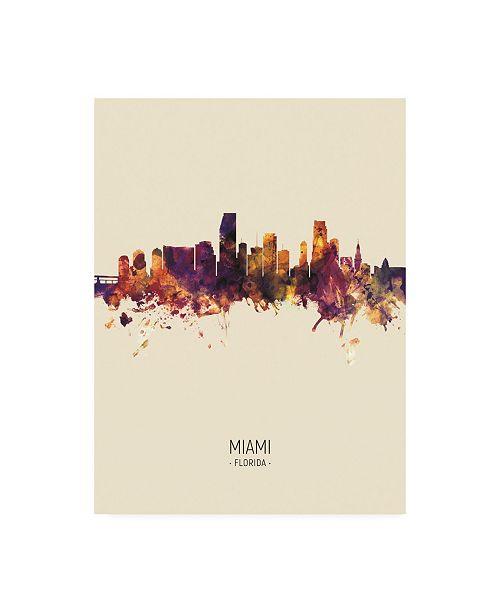 "Trademark Global Michael Tompsett Miami Florida Skyline Portrait III Canvas Art - 36.5"" x 48"""