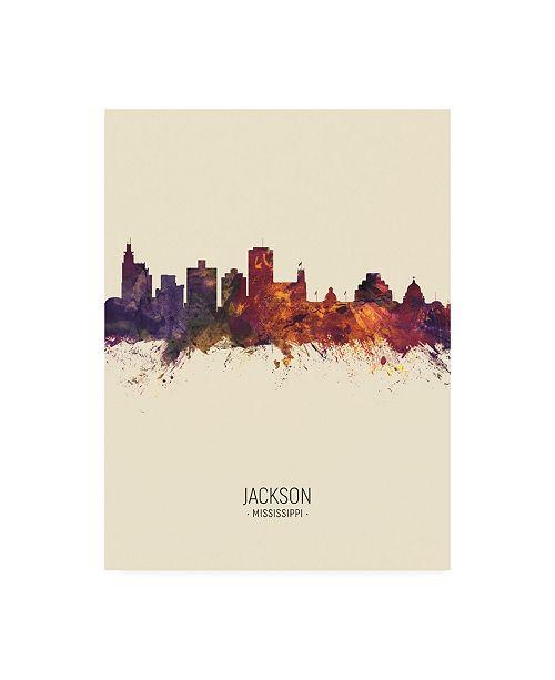 "Trademark Global Michael Tompsett Jackson Mississippi Skyline Portrait III Canvas Art - 36.5"" x 48"""