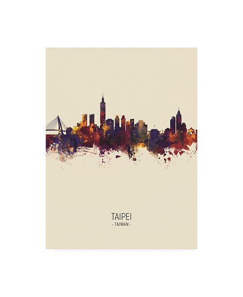 "Trademark Global Michael Tompsett Taipei Taiwan Skyline Portrait III Canvas Art - 36.5"" x 48"""