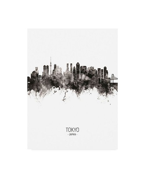 "Trademark Global Michael Tompsett Tokyo Japan Skyline Portrait II Canvas Art - 36.5"" x 48"""