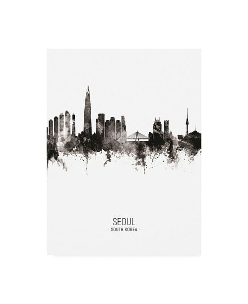 "Trademark Global Michael Tompsett Seoul Skyline South Korea Portrait II Canvas Art - 27"" x 33.5"""
