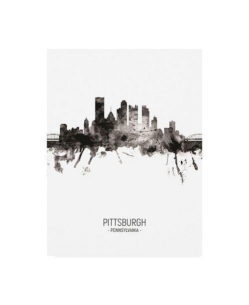 "Trademark Global Michael Tompsett Pittsburgh Pennsylvania Skyline Portrait II Canvas Art - 36.5"" x 48"""