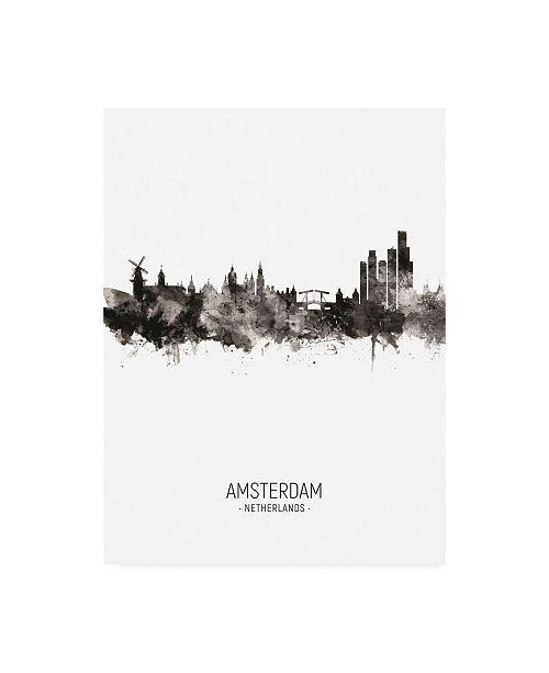 "Trademark Global Michael Tompsett Amsterdam the Netherlands Skyline Portrait II Canvas Art - 27"" x 33.5"""