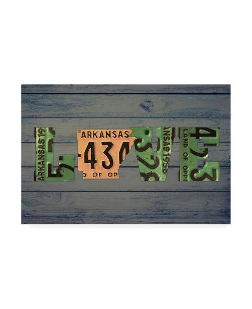 "Trademark Global Design Turnpike AR State Love 2 Canvas Art - 15.5"" x 21"""