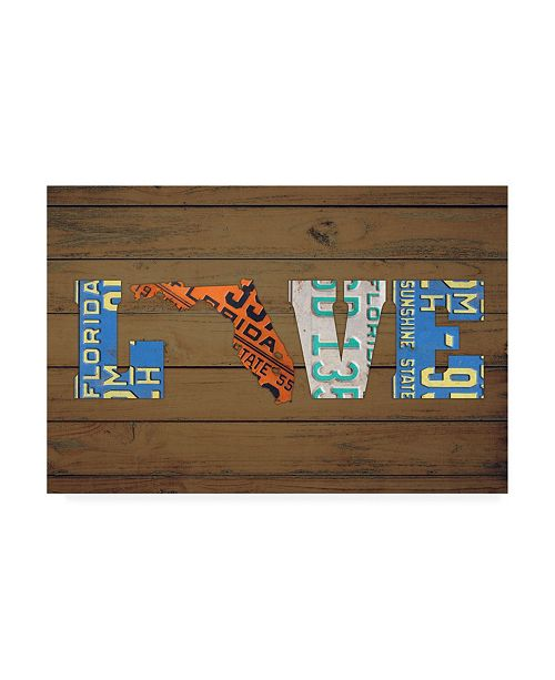 "Trademark Global Design Turnpike FL State Love Canvas Art - 19.5"" x 26"""