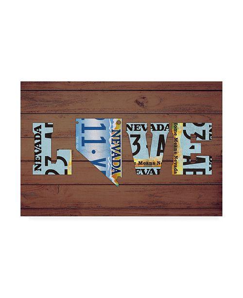 "Trademark Global Design Turnpike NV State Love Canvas Art - 15.5"" x 21"""