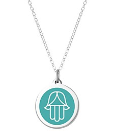 "Hamsa Pendant Necklace in Sterling Silver and Enamel, 16"" + 2"" Extender"