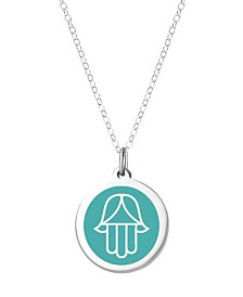 "Auburn Jewelry Hamsa Pendant Necklace in Sterling Silver and Enamel, 16"" + 2"" Extender"