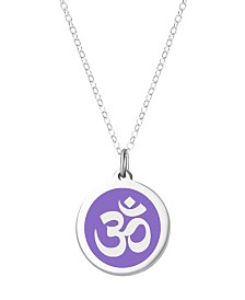 "Auburn Jewelry Om Pendant Necklace in Sterling Silver and Enamel, 16"" + 2"" Extender"