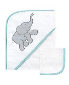 Hooded Towel and Washcloth Set, Gray Elephant