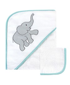 Luvable Friends Hooded Towel and Washcloth Set, Gray Elephant