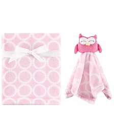 Hudson Baby Plush Blanket with Security Blanket Set, Girl Owl