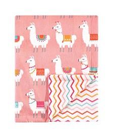 Hudson Baby Reversible Mink Blanket, Llama