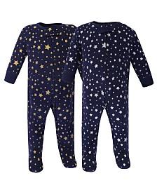Hudson Baby Zipper Sleep N Play, Metallic Stars, 2 Pack, Preemie