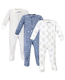 Hudson Baby Zipper Sleep N Play, Cloud Mobile Blue, 3 Pack, 0-3 Months