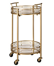 Deluxe Metal Round Mirrored Bar Cart