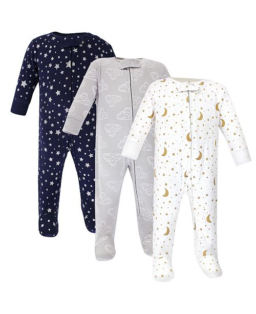 Hudson Baby Zipper Sleep N Play, Navy Stars & Moons, 3 Pack, 3-6 Months