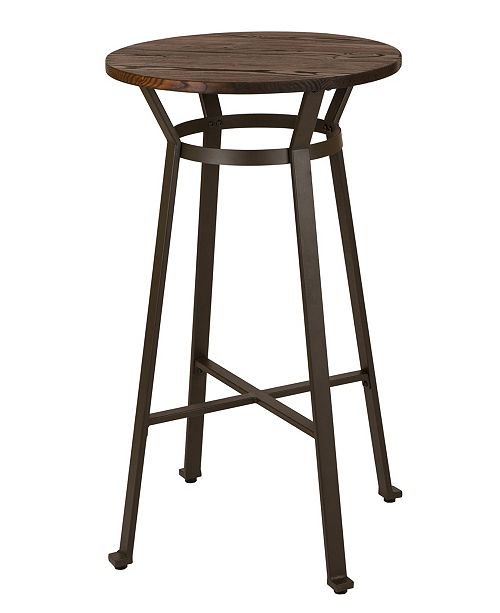 Glitzhome Rustic Steel Bar Table with Elm Wood Top