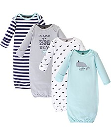 Cotton Gowns, Handsome Whale, 4 Pack, 0-6 Months