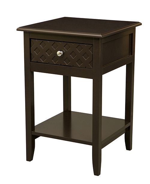 Glitzhome Espresso Wooden End Table with 1 Drawer