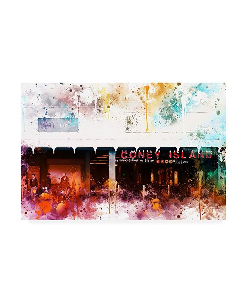 """Trademark Global Philippe Hugonnard NYC Watercolor Collection - Coney Island Station Canvas Art - 15.5"""" x 21"""""""
