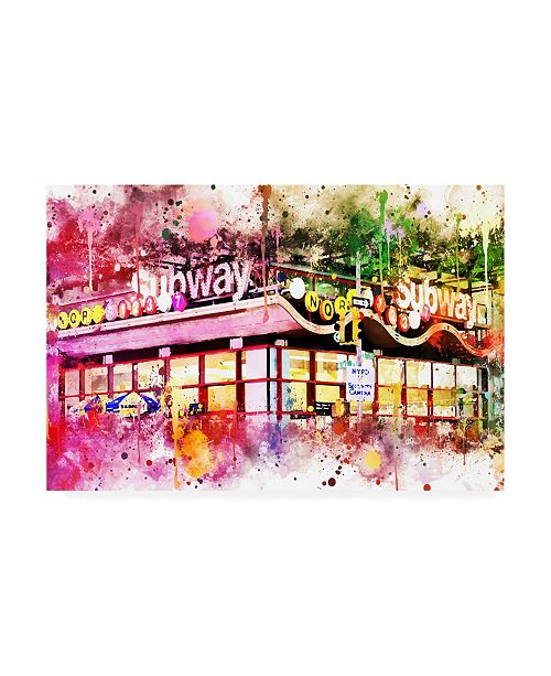 "Trademark Global Philippe Hugonnard NYC Watercolor Collection - Times Square Subway Canvas Art - 36.5"" x 48"""