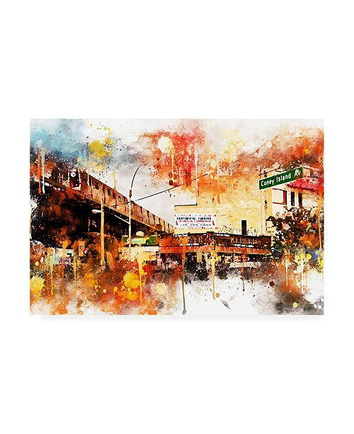 "Trademark Global Philippe Hugonnard NYC Watercolor Collection - Urban Traffic Canvas Art - 36.5"" x 48"""